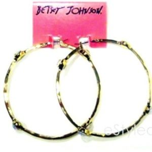 Betsey Johnson Large Hoop Earrings Gold Crystals